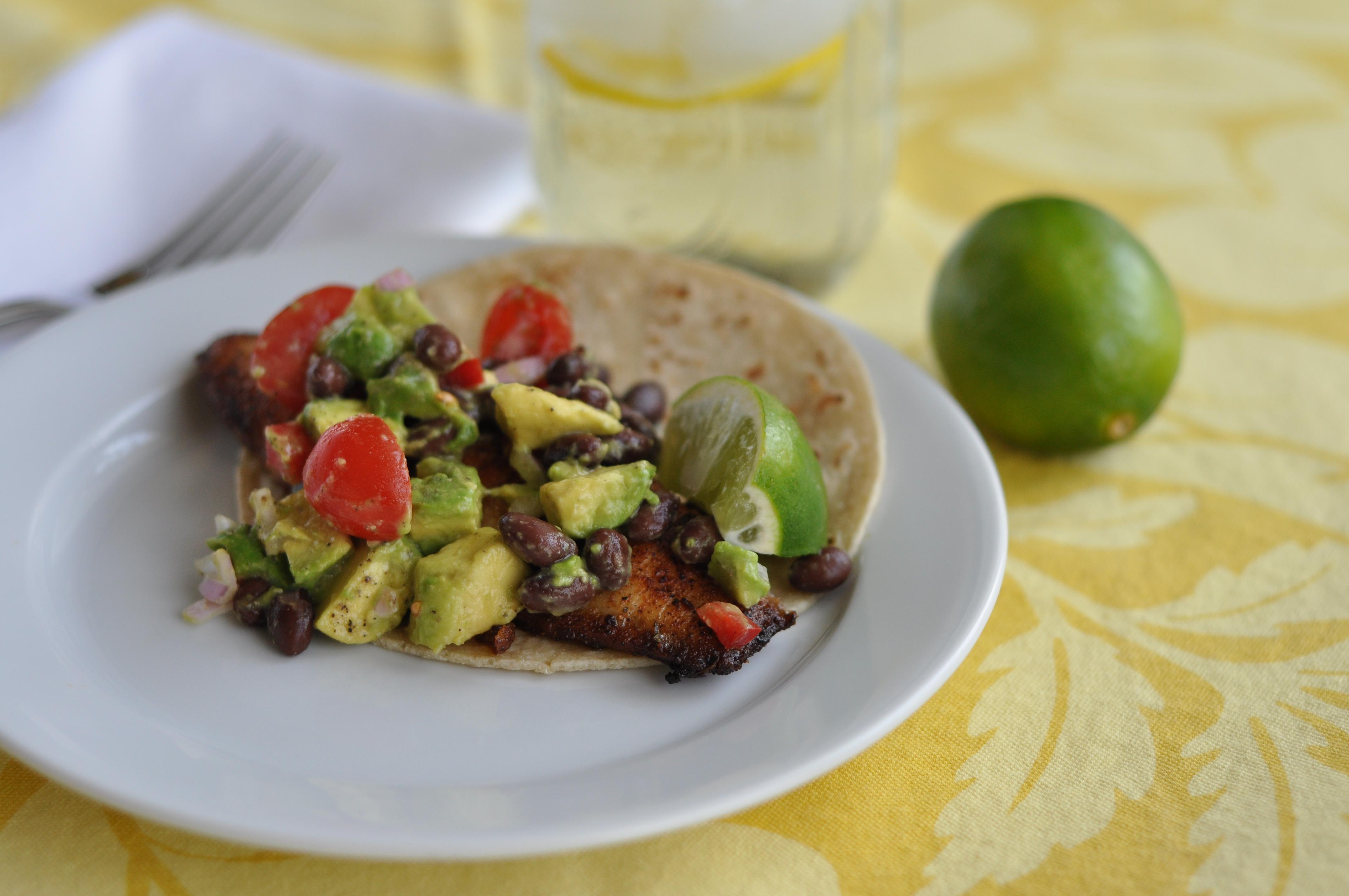 Pan seared tilapia fish tacos with avocado salad just for Fish tacos with tilapia